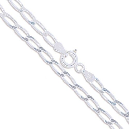 Sterling Silver Diamond-Cut Long Curb Chain 3mm Solid 925 Italy New Necklace