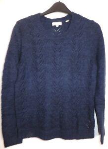 New Women's FatFace Navy Blue Round Neck Knit Jumper Size UK 8