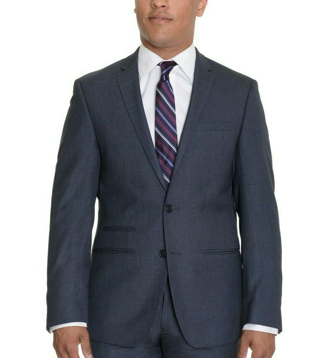 Andrew Fezza Slim Fit bluee Textured Two Button Blazer Sportcoat 38S