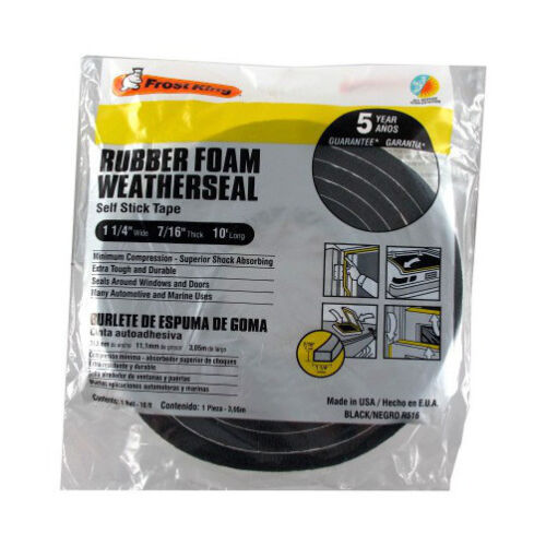 "7//16/"" Thick 1-1//4/"" X 10/' Black Self-Adhesive Rubber Foam Weatherstrip"