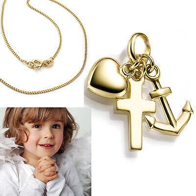 14 Kt Echt Gold 585 Glaube Liebe Hoffnung Anhänger und Kette Silber 925 verg.