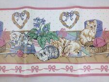 "15/30 Ft Kittens Puppy Yarn Hearts 7"" Wallpaper Border Pink Blue Beige Removable"