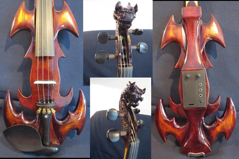 Nuevo Modelo Modelo Modelo Crazy -1 violín eléctrico de 4 4 de la canción Tallada Dragon Head d51311