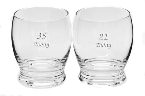 Personalised Pair Handmade Rounded Whisky Tumbler Glasses Any Message Engraved