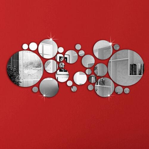 26pcs//Set Mirror Tiles Wall Stickers Self Adhesive Stick On DIY Art Home Room UK