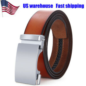 Retro-Red-Genuine-Belt-for-Men-Automatic-Buckle-Waistband-Ratchet-Leather-Strap