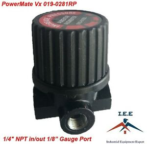 "Powermate Vx 019-0281RP 1/4"" NPT Inlet/Outlet 1/8"" NPT Gauge Pressure Regulator"