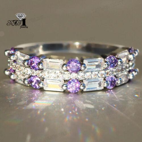 Coupe de princesse violet Saphir Pierre Précieuse Argent 925 Rempli fête de mariage Anneau Cadeau