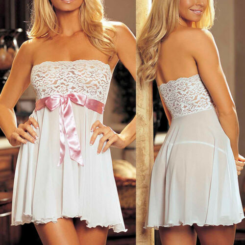 Details about  /Women Lady Sexy//Sissy Lingerie Lace Babydoll G-String Thong Underwear Nightwear