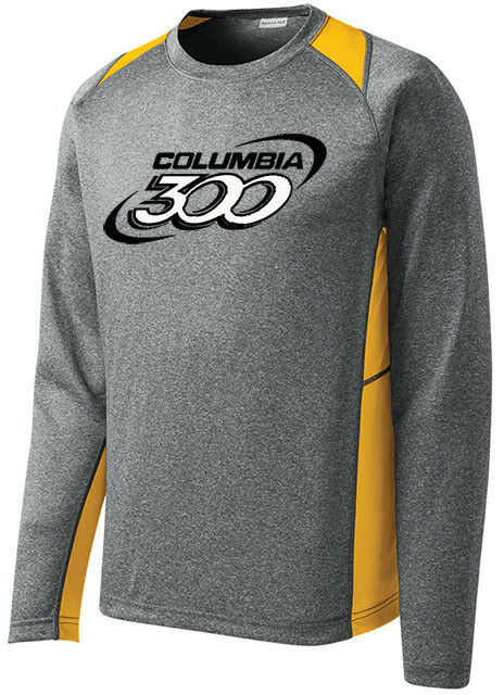 Columbia 300 Men's Bully Bowling Long Sleeve Shirt Dri-Fit Heather Yellow gold