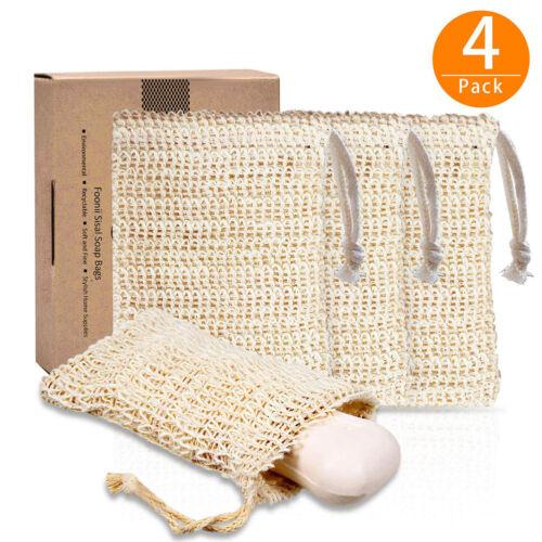 4x Sisal Seifenbeutel Set Seifenreste-Beutel Natur Seifen-säckchen Seifensack