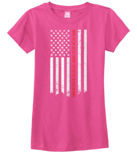 Honor /& Respect Thin Red Line Flag Girls Fitted T-Shirt Firefighter