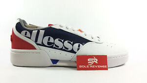 New-Ellesse-Piacentino-2-0-Casual-Leather-Men-039-s-6100160-Shoes-Navy-White-Red-c1