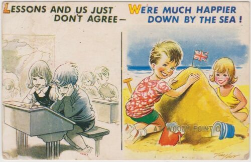 R748 1950 Great Britain comic postcard unused lesson
