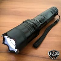 BLACK Metal POLICE Stun Gun 265 Million Volt Rechargeable LED Flashlight + Case