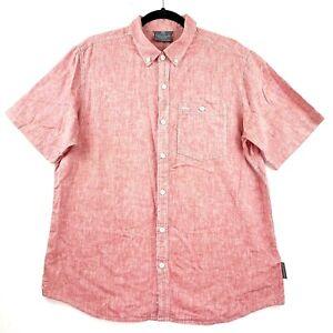 Kathmandu-Men-039-s-Size-Large-Red-Hemp-Collared-Button-Up-Short-Sleeve-Shirt