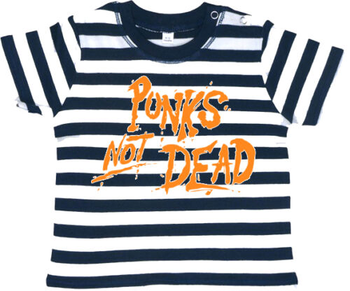 PUNKS NOT DEAD ORANGE Baby Shirt gestreift navy//weiß