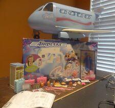 Vintage Mattel Barbie Blue Airplane Plane Jumbo Jet Sound Doll Toy + Accessories