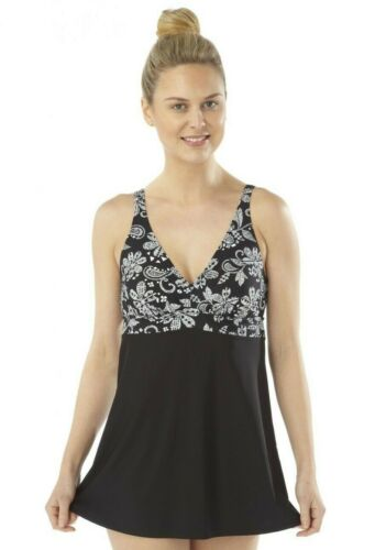 Ladies Floral OYSTER BAY Skirted Support Swimsuit Padded Swim Dress Costume