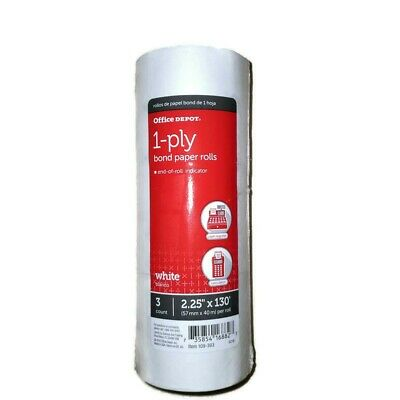 Office Depot 1 Ply 2 1//4 Inch X 130FT White Paper Rolls Pack 3281
