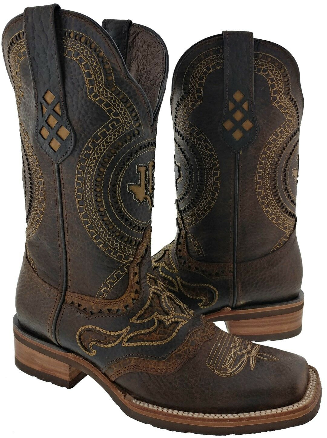Mens Real Leather Dark braun Inlay All Design Western Wear Cowboy Stiefel Rodeo