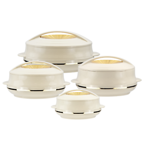 4pc-Hot-Pot-Insulated-Casserole-Pan-Food-Serving-Warming-Dish-Bowl-Set-OMP-Beige