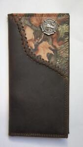 ZEP-PRO MALTESE CROSS Fireman Fence Row Camo Leather Roper Wallet BURLAP Bag