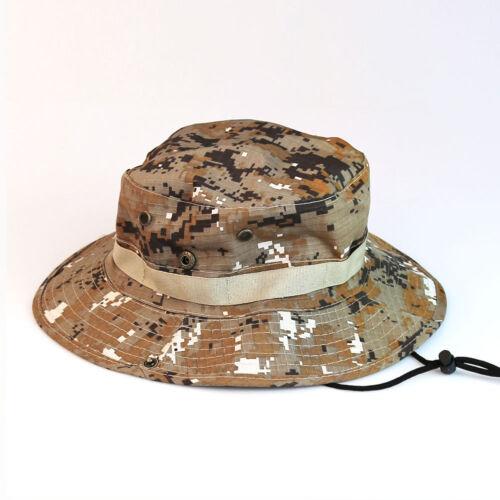 Unisex Camo US Military Boonie Cap Sun Bucket Brim Bush Army Fishing Hiking Hat