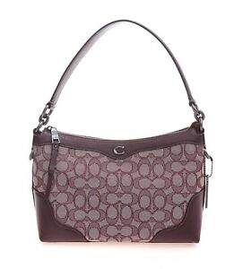 NWT-COACH-Small-East-West-Ivie-Shoulder-Bag-Purse-Signature-Raspberry-F46285-Red