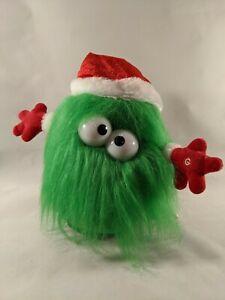 Christmas Gemmy Fuzzy Green Monster Animated Musical Plush Santa Hat
