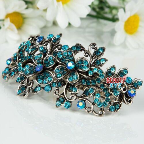 Woman/'s new flowers silver plated metal fashion rhinestone hair clip Barrette