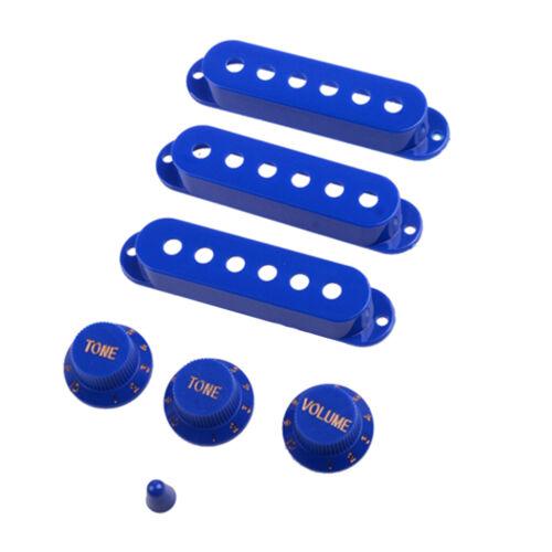 3pcs Pickup Covers 3pcs Knobs 1pc Toggle Tip für E Gitarren Teile Blau