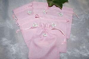 Geschenkbeutel Gastgeschenk Tischdeko Geburt Rosa Weiß 6 St. Schnelle Farbe