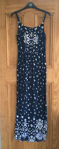 Bhs-New-Navy-Blue-White-Strappy-Floral-Maxi-Dress-Size-8-10-12-Bnwot