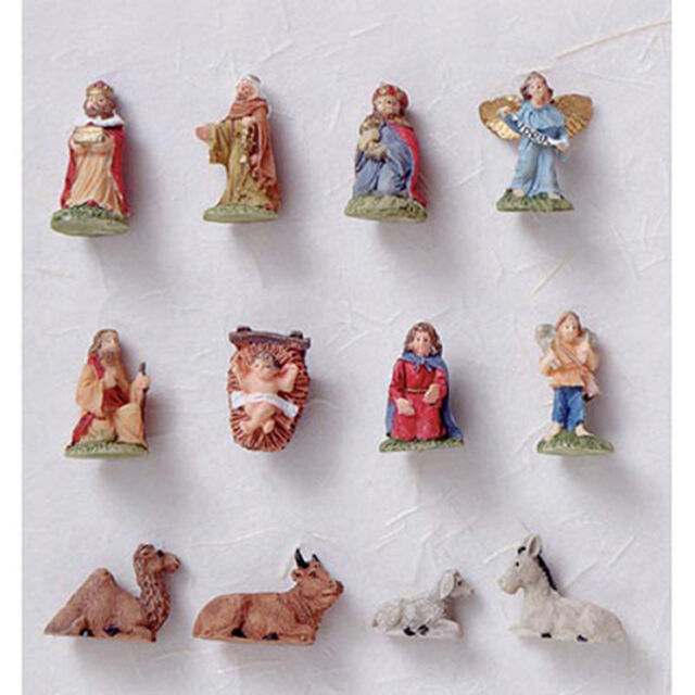 Darice 2420 57 Miniature Christmas Tree Ornaments Nativity 12 Pc Set 75