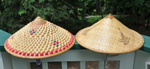 TWO (2) Different Woven Bamboo Coolie Sun CONICAL