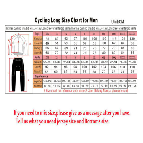 Mens Team Thermal Fleece cycling jersey long sleeve Bib pants set Cycling pants
