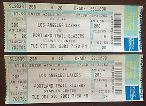 best sale clearance prices new lifestyle Details about (2) 2001 Los Angeles LAKERS vs Portland TRAIL BLAZERS TICKETS  Kobe Shaq Pippen