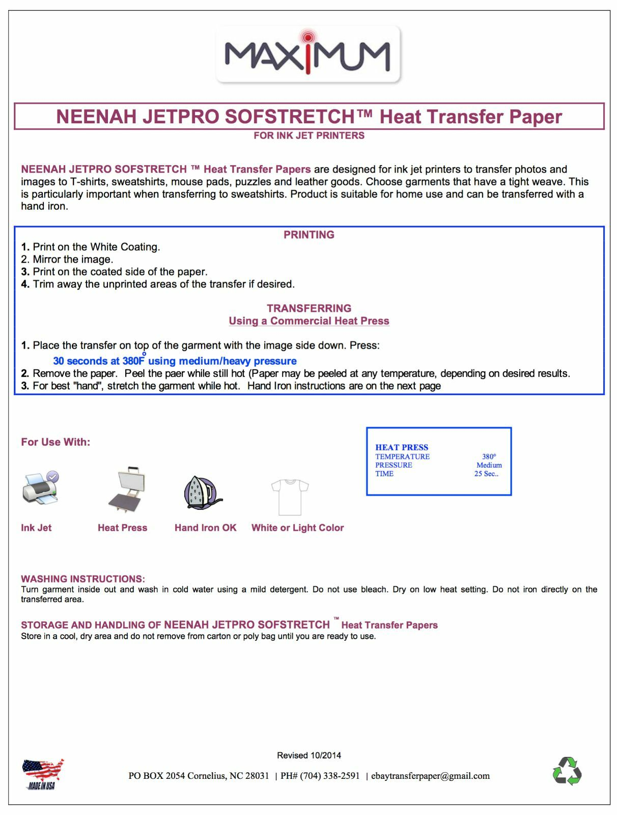 Neenah Jet Pro Sofstretch Inkjet Heat Ironon Transfer Paper 85 X 11