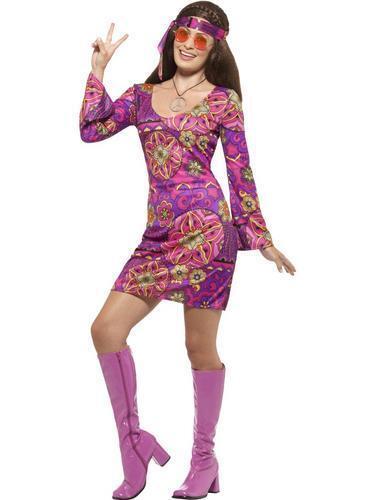 Woodstock Hippie Chick Ladies Fancy Dress Hippy 70s 1970s Womens Adults Costume