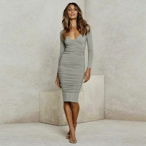 Cocktail Dresses Solid Autumn Long Sleeve Tight Women/'s Evening Dress Party Boho