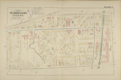 COURT ST ATLAS MAP 1883 UTICA NEW YORK ST JOSEPH/'S /& PATRICK/'S CHURCH FAYETTE