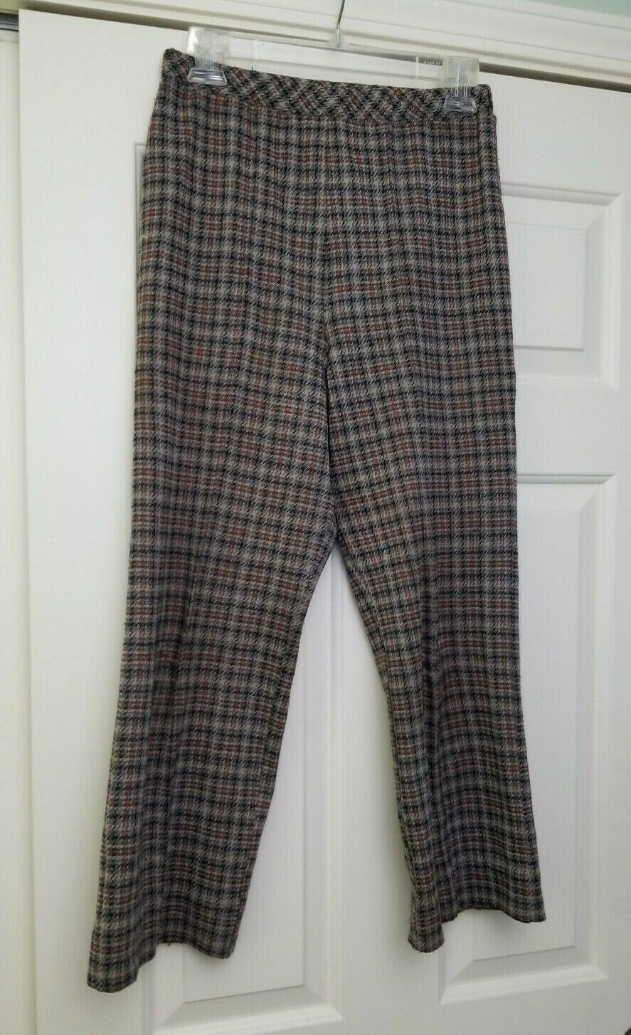 VTG 70s 80s Women's Houndstooth Plaid Pants Brown… - image 3
