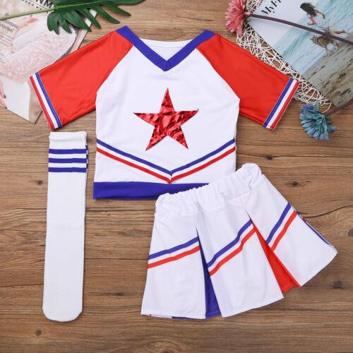 Child Girls Cheerleader Costume Kids Cheer Dancing Uniform Cosplay Fancy Dress