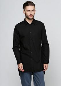Details about Zara Man Black Long Sleeve Dress Shirt Button Down MENS Medium Asymmetric
