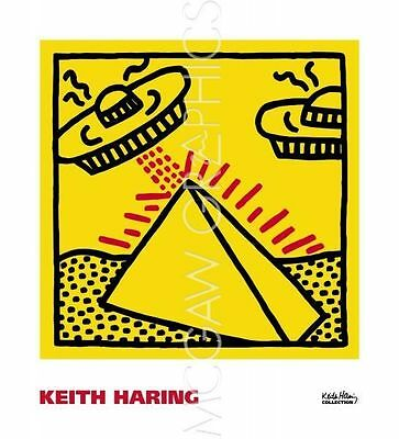 pyramid with UFOs POP ART PRINT Untitled 1984 Keith Haring 16x16 McGaw