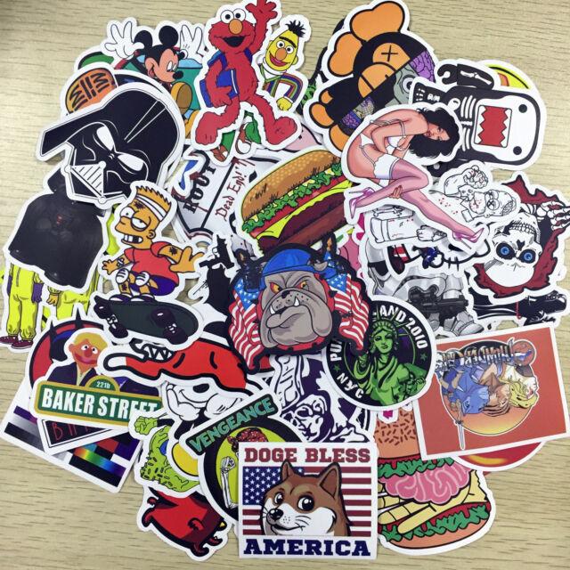 100 Random Skateboard Vinyl Sticker Skate Graffiti Laptop Luggage Car Bomb Decal