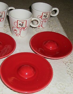 Red White Demitasse Expresso 2 Cups & Saucers Lougarte Portugal Rooster Label