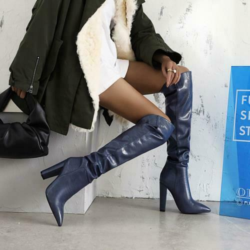 Details about  /Europe Pointy Toe Block Heel Over The Knee Thigh High Boots Faux Leather Party L