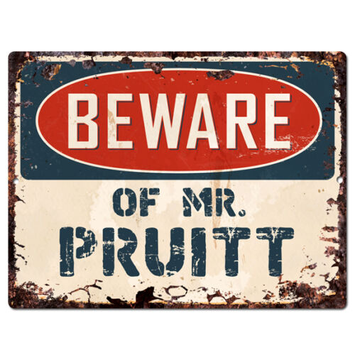PRUITT Chic Plate TIN Sign Home Decor Funny Gift Ideas PBMR0736 Beware of MR